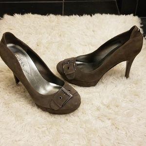 Guess Greyish Suede Heels 8-1/2
